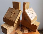 Wood Book Ends, Bible Woo...