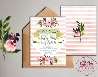 Pink Stripes and Floral Bridal Shower Invitation, Stripes and Floral Bridal Shower Invitation, Pink Stripes and Floral Invitation