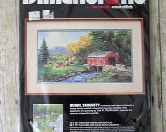 SALE 803) Dimensions No Count Cross Stitch Rural Serenity Lee K. Parkinson Painting Covered Bridge Complete Kit