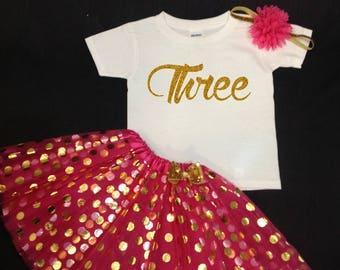 Pink Tutu Set, Birthday Set, Third Birthday, Pink Birthday Tutu, Pink Gold Third Birthday Tutu Set, Third Birthday Tutu Outfit, 3rd Outfit