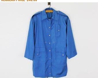 Vintage Trench Coat, Oversized Women Rain Jacket, Detective Plus Size Coat, Blue Coat