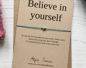 "Wish Bracelet - ""Believe in yourself"" greeting sentiment card with envelope"