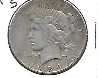 1934 S Peace Silver Dollar Key Date Fine