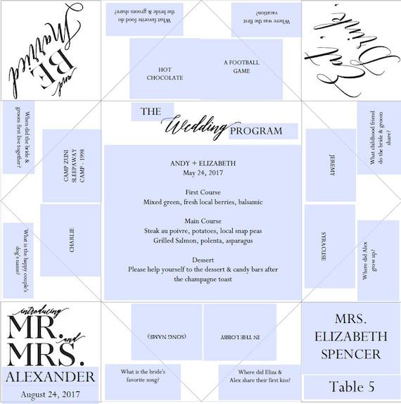 Place Setting Printable Wedding Program/Menu/Favor Cootie