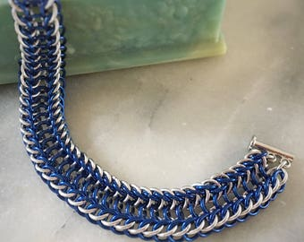 Trendy Blue and Silver Chainmaille Bracelet - Chainmaille Jewelry - Modern Jewelry - Chain Bracelet - Cuff Bracelet