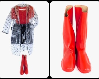 US 8 to 8.5 Women's~Awesome Vintage 60s Bright Red Rubber Galoshes Rain Boots