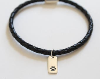 Leather Bracelet with Sterling Silver Paw Print Charm, Paw Print Bracelet, Paw Print Rectangle Charm Bracelet, Paw Print Pendant Bracelet