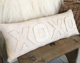 Vintage grain sack pillow/ farmhouse pillow/ Valentines Day/ XOXO/ feed sack/ patches/ rustic