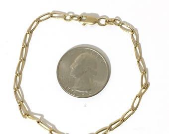 "14 KT Yellow Gold Rada Oval Chain Bracelet 7.5""  cr-054"