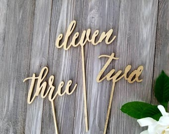 Wedding Table numbers - calligraphy tablets numbers - wedding centerpiece decor