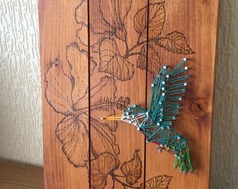 Hummingbird and Hibiscus String Art and Wood Burning