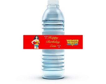 Custom Wonder Woman Inspired Water Bottle Labels