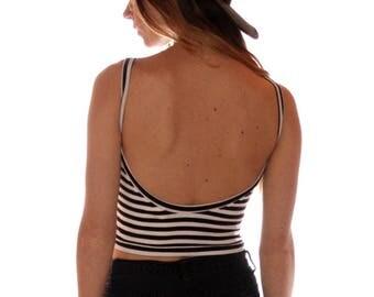 Open Back Crop Black/White Stripes