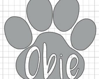 Paw print with dog name vinyl decal
