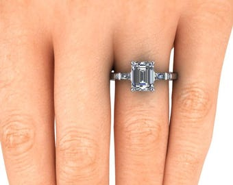 Emerald Cut Forever One Engagement Ring,  9x7 Moissanite, Platinum, Conflict Free Diamonds