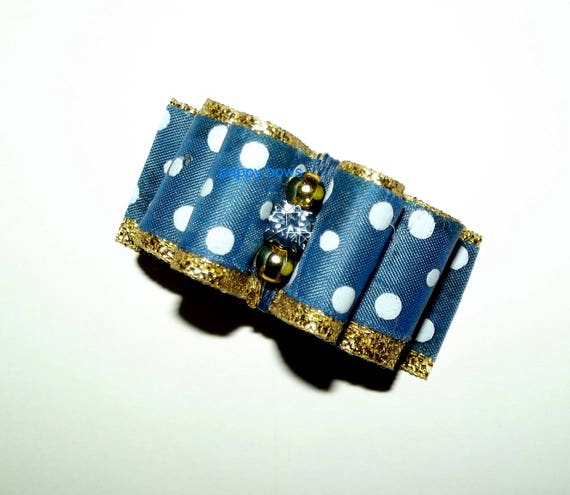 """Puppy Bows ~  7/8"""" blue/gold polka dots show pet hair bow latex bands or barrette  (fb97)"""