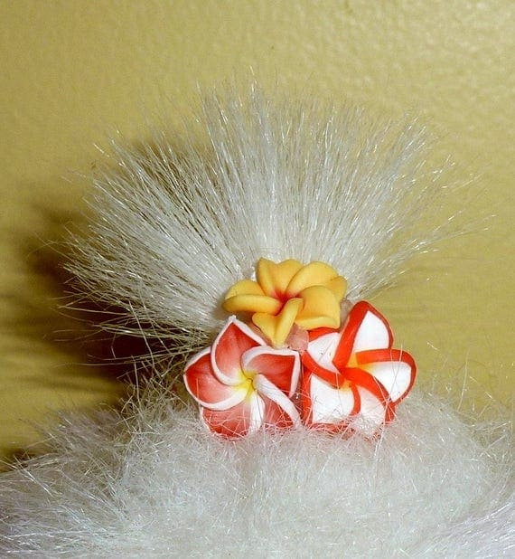 Puppy Bows ~Hibiscus PINKS BLUES purples oranges flower pet hair dog topknot barrette  ~USA seller  (fb90)