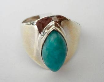 ENDLESS SUMMER SALE Gorgeous Genuine Aaa Grade Larimar Ring .925 Sterling Silver  Free U.S. Shipping  U.S. Size 8
