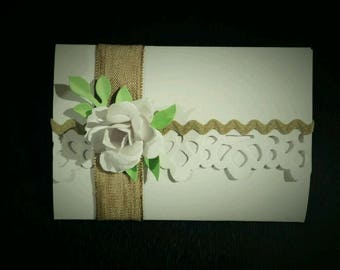 50 wedding invitations with pink and double cardboard details, entirely handmade-cotton tapes-customizable