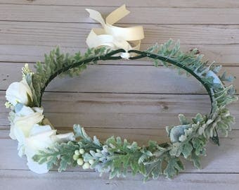 Ivory Rose Flower Crown, Maternity Photo Flower Crown, Boho Bridal Shower Flower Crown, Adult Ivory Floral Wreath, Baby Shower Flower Crown