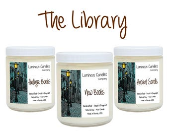 Soy Candles Set * The Library * Book Candles * Literary Gifts * Handmade * 4oz Scented All White * Library Decor