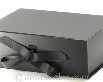 luxurious extra large black grosgrain ribbon tie quality gift box 33cm an ideal gift hamper or box