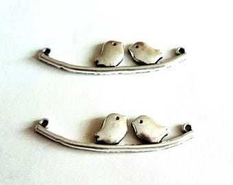 couple birds - silver - 45x11mm connector charms