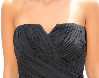 Black Long Strapless Evening Gown