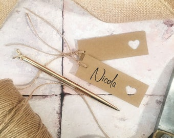 Blank Kraft Wedding Name Tags with Twine and Heart