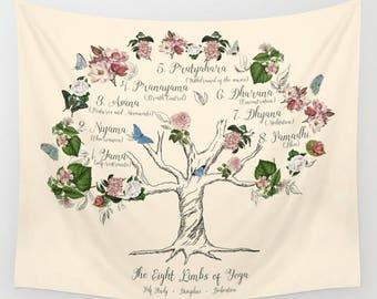 Eight Limbs of Yoga Wall Tapestry, Fabric wall art, Yoga Tree illustration,  Yoga Studio, spring, floral, feminine, blooms, pretty