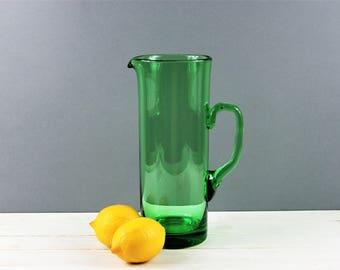 Green Glass Pitcher, Large Tall Green Glass Jug, Art Glass, Mid Century Pitcher. Hand Blown.