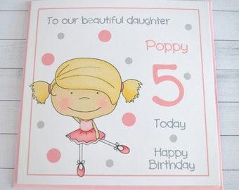 Handmade Personalised PRINCESSBallerina Birthday Card 2 3 4 5 6 7 Granddaughter Daughter Niece Friend...