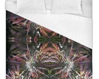 Leaf Duvet Cover,Bohemian Duvet Cover Blueberry Frost Cannabis Print,Duvet Cover Floral, Leaf Bedding,Hippy Decor, Duvet Cover Queen