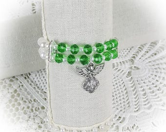 Bracelet Guardian Angel Beads Crystal Glass Angel Beads Bracelet Stretch