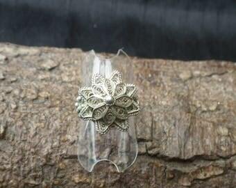 Sterling Silver  Filgree Flower Ring