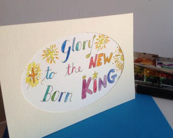 Glory to the New Born King Card, Christian Christmas Greeting, Scripture  Card,Christian Card,Bible Verse Card.