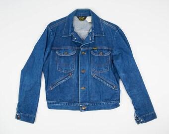 40/M - Vintage Wrangler Jean Jacket M - Vintage Jean Jacket Size 40 - Blue Jean Jacket Men's Medium - Indigo Jean Jacket 70s Vintage 74126NV