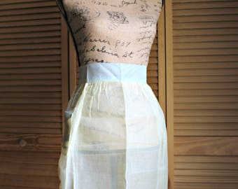 Vintage. Apron. Yellow & blue. Sheer. 1960s. Kitchen/apron. So cute!!