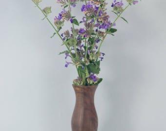 Bud vase turned from Claro (Figured) Walnut