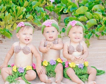 Hawaiian Halloween Costume, Baby Hawaiian Outfit, First Birthday Outfit, Hula Girl Outfit, Hula Girl Halloween Costume, Hula Girl Photo Prop