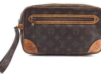Louis Vuitton #15763 Monogram Canvas and Vachetta Leather Dragonne Clutch