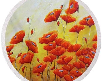 large round poppy beach towel, red poppies festival blanket, flower picnic blanket, original painting by Nancy Quiaoit