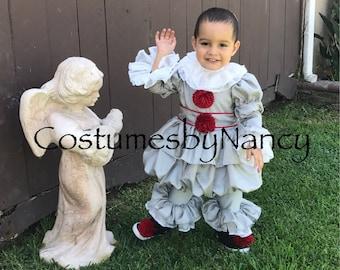 Children's Clown Costume, Jesster Costume, Pennywise Costume , IT costume,