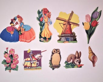 1950's Vintage Decals Mixed Decals Set of 9 Pieces