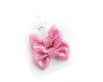 "MINI ""Strawberry Glaze"" Sparkle Bow Piggie Tail Clip Set"