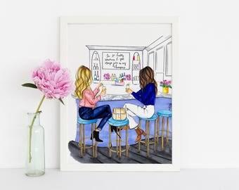 Brunch Girls (Fashion Illustration Print)