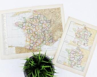 Vintage France Map Poster, Vintage Map of France, Vintage Map Wall Art Vintage Map Poster, French Wall Art Prints, Antique French Map Canvas