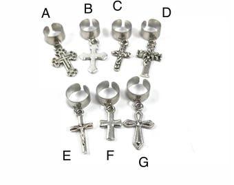 Silver Cross Ear Cuff Charm Silver Ear Cuff Fake Piercing Cross Ear Wrap Simple Ear Cuff Cartilage Cuff Gift for Catholic Gift for Christian