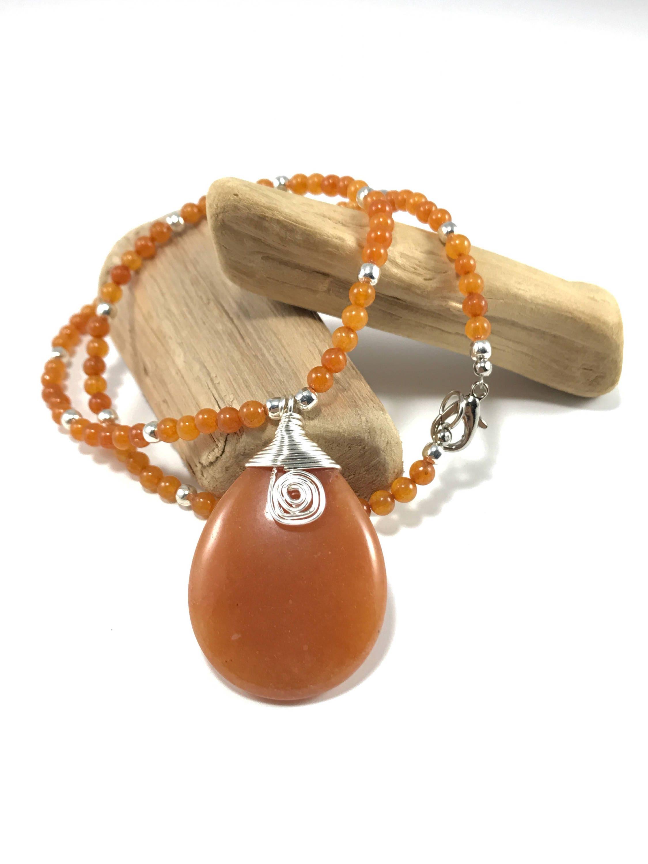 orange gemstone necklace orange jade necklace with wire