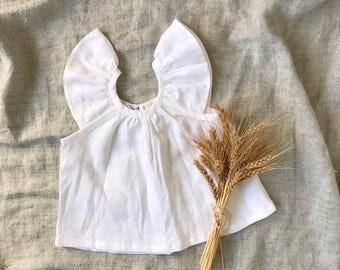 Flutter sleeve blouse in white linen